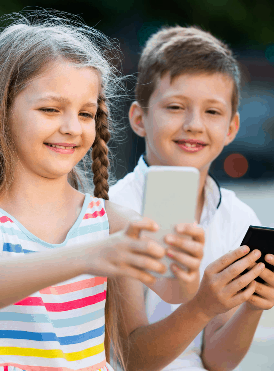 Kids playing unsupervised on mobile phones